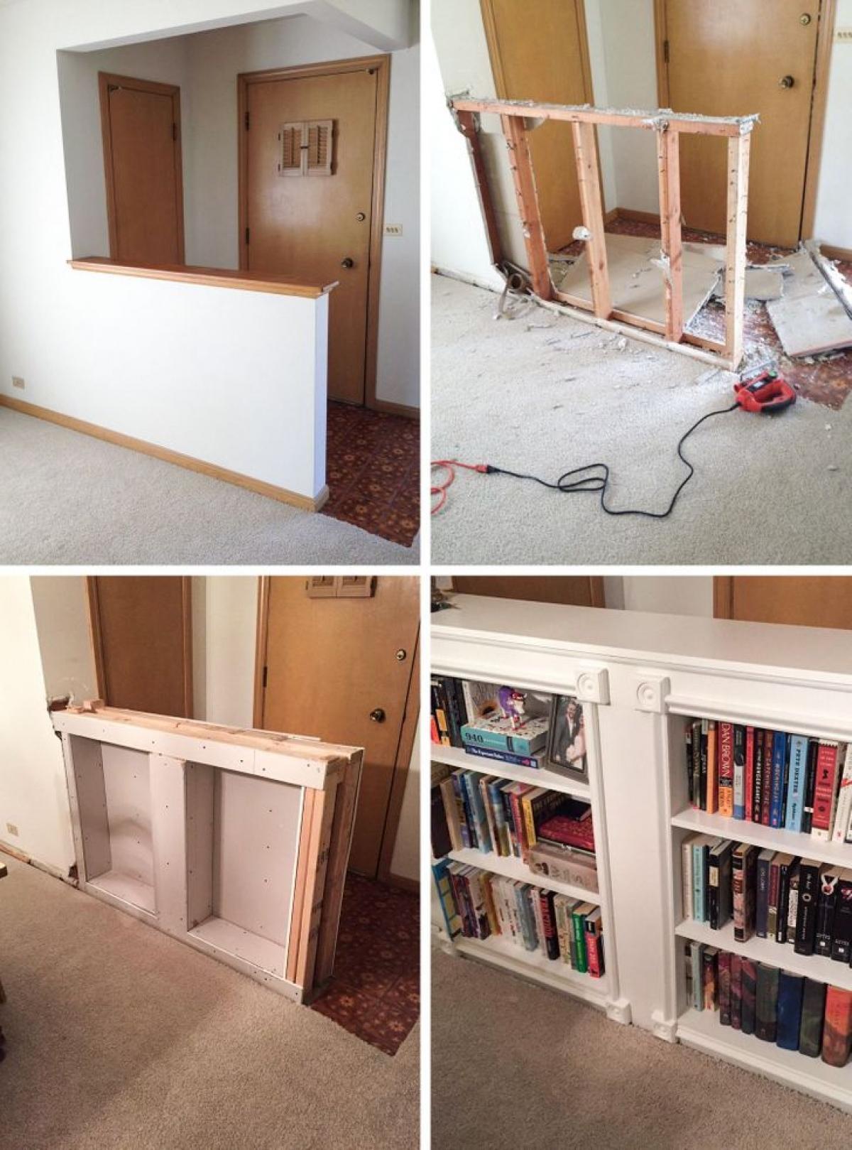 Chỉ với máy khoan, kéo, vài thanh gỗ thừa cùng một chút khéo tay, người đàn ông này đã biến bức tường ngăn giữa lối ra vào và căn phòng thành một kệ sách xinh xắn, đáng yêu.