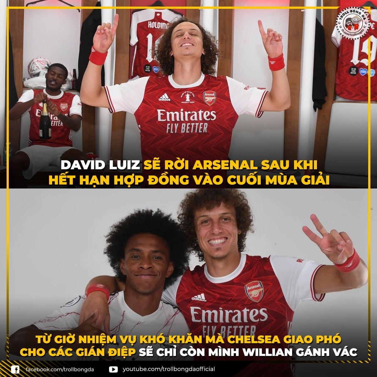 David Luiz rời Arsenal vào cuối mùa. (Ảnh: Troll bóng đá).