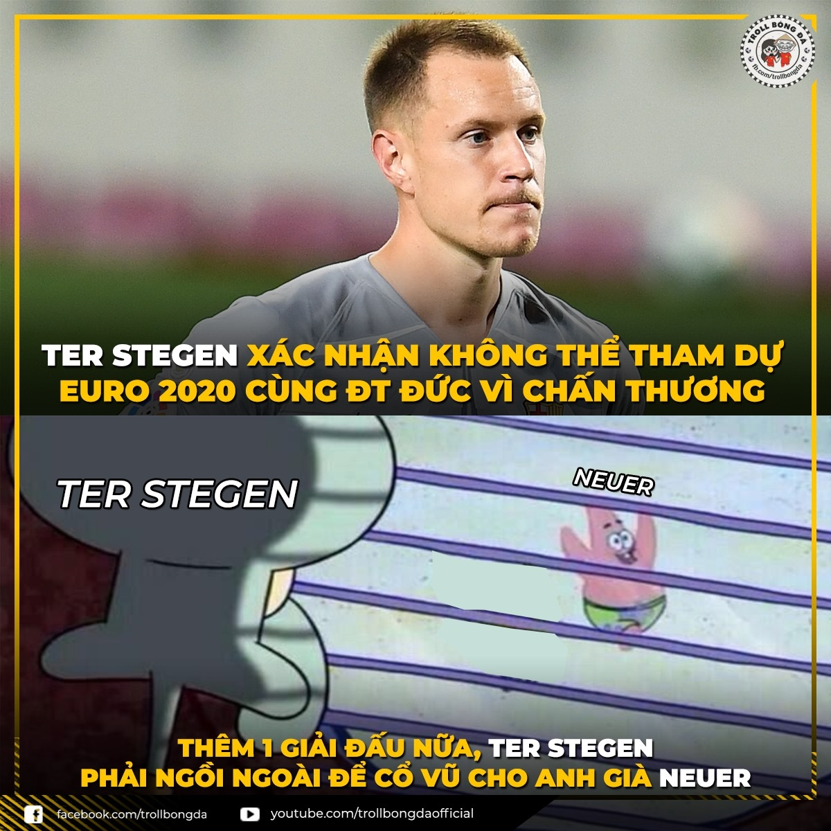 Thêm một giải đấu lớn Ter Stegen lỡ hẹn với ĐT Đức. (Ảnh: Troll bóng đá).