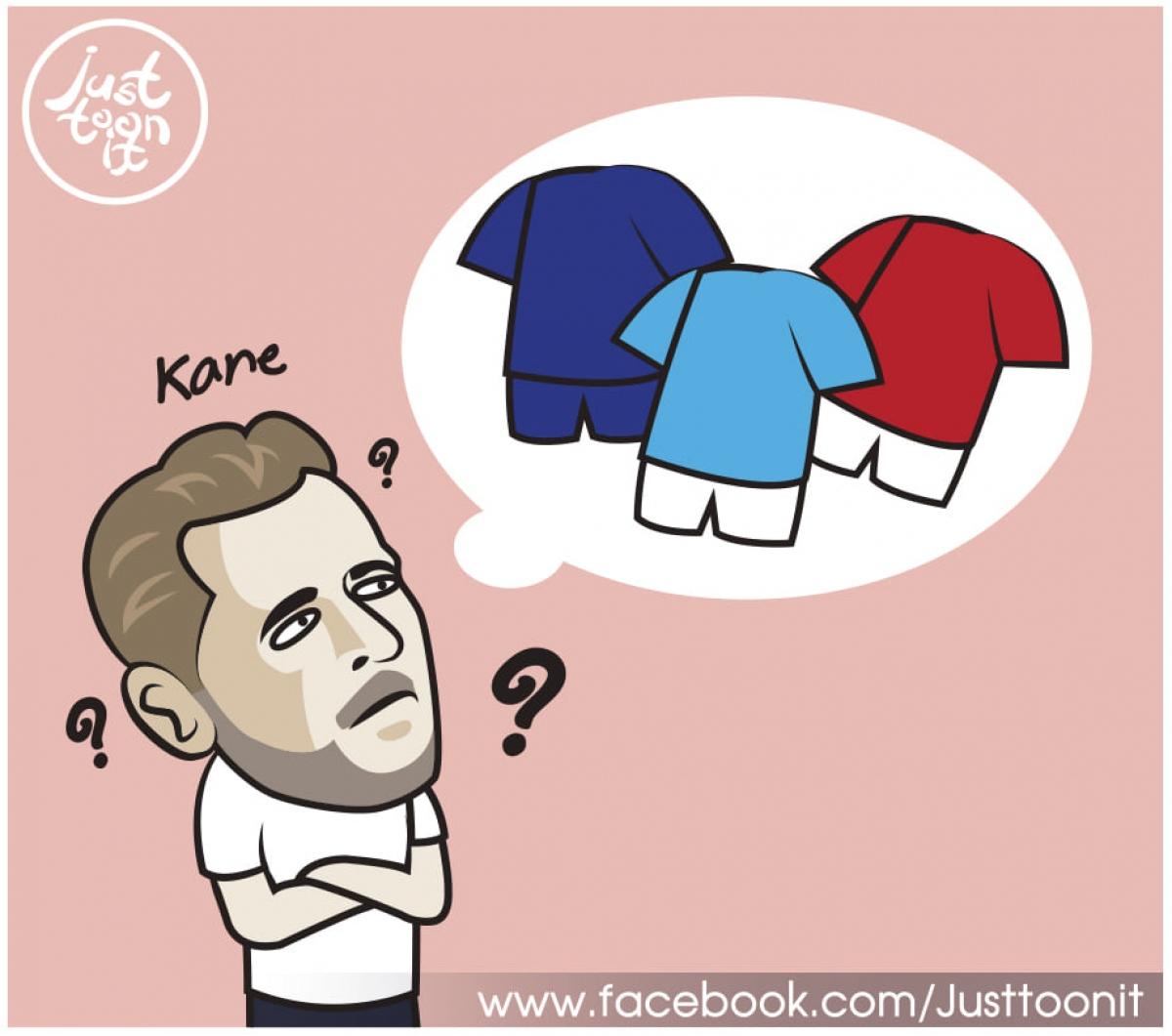 Đâu là bến đỗ tiếp theo của Harry Kane? (Ảnh: Just Toonit).