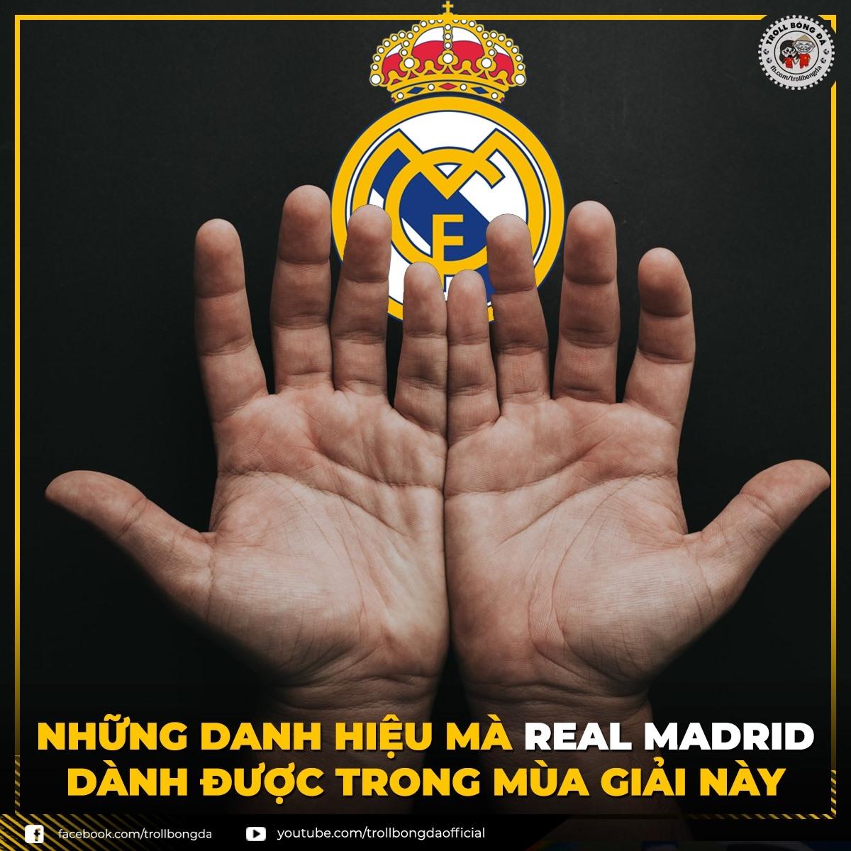 """Real Madrid khép lại mùa giải """"trắng tay"""" (Ảnh: Troll bóng đá)."""