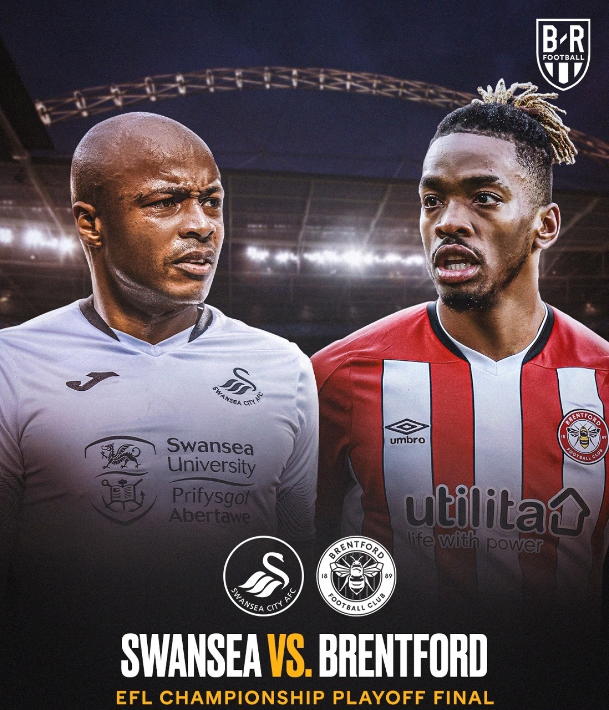 Swansea và Brentford cạnh tranh vé cuối cùng lên chơi ở Ngoại hạng Anh mùa tới. (Ảnh: Bleacher Report).