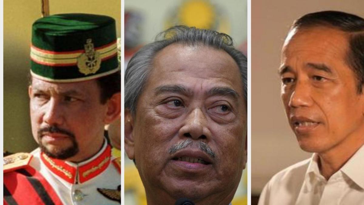 Từ trái qua Quốc vương Brunei Darussalam, Thủ tướng Malaysia và Tổng thống Indonesia. (Nguồn: Liputan 6)