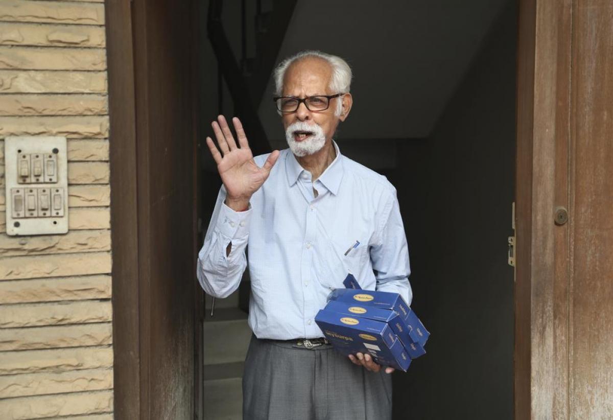 Balachandran Gopalan, chú của Phó tổng thống Mỹ Kamala Harris, tại New Delhi, Ấn Độ vào ngày 8/11/2020. Ảnh:AP
