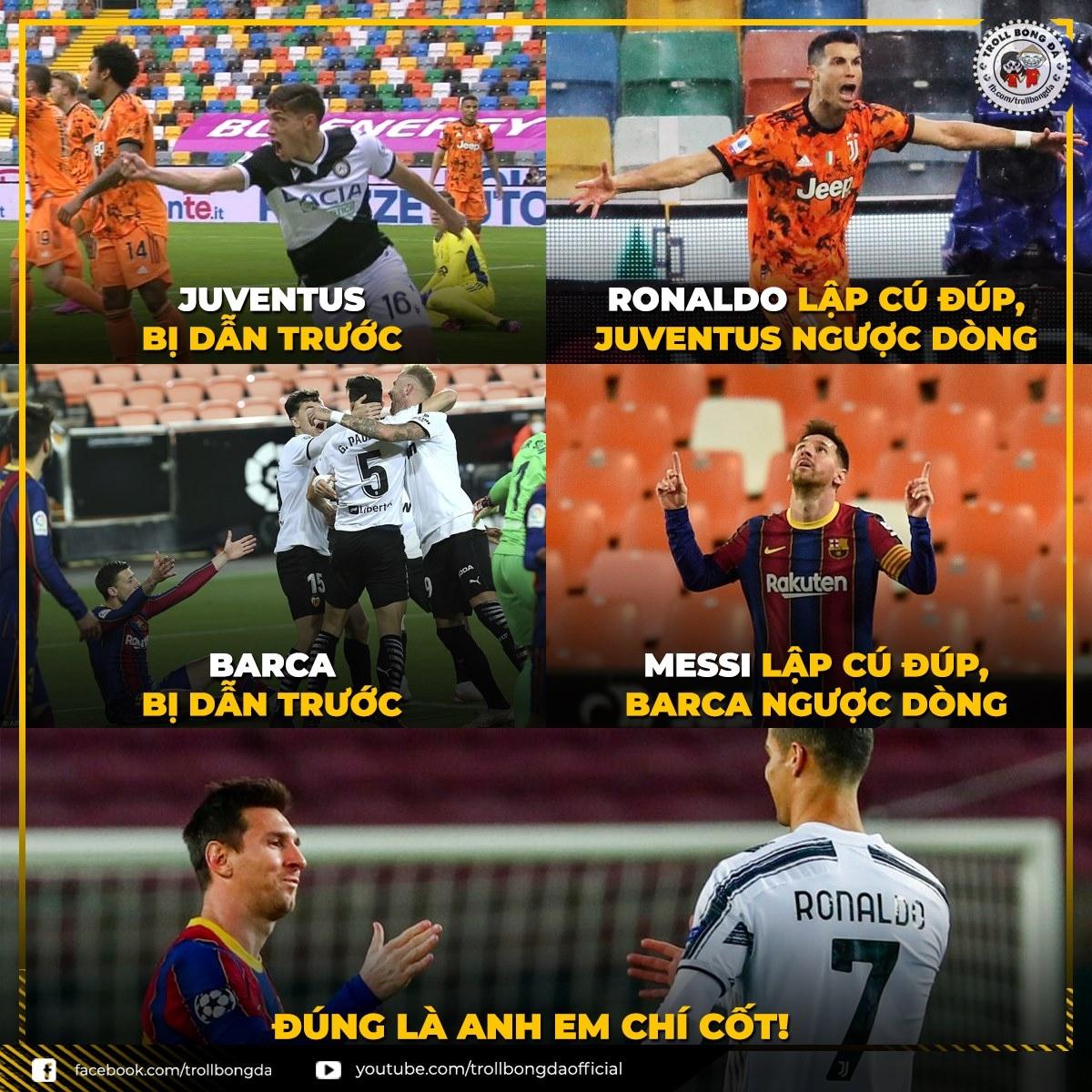 Cristiano Ronaldo gọi, Lionel Messi trả lời. (Ảnh: Troll Bóng Đá)