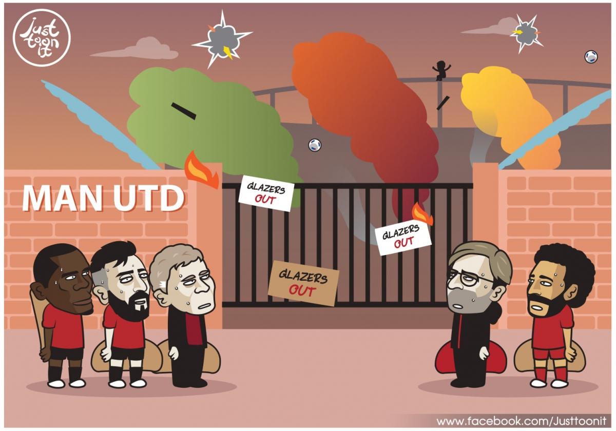 Bước ngoặt khiến MU và Liverpool không thể ngờ tới. (Ảnh: Just Toon It)