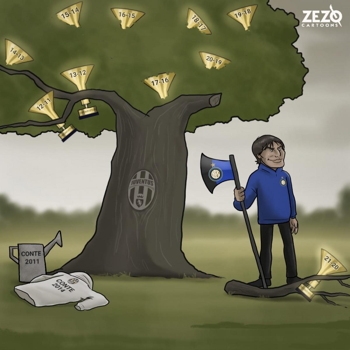 HLV Antonio Conte mở ra kỷ nguyên thống trị Serie A cho Juventus rồi cùng Inter Milan chấm dứt nó. (Ảnh: ZEZO Cartoons)