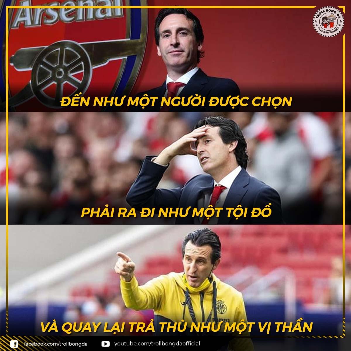 Unai Emery phục thù Arsenal. (Ảnh: Troll Bóng Đá)