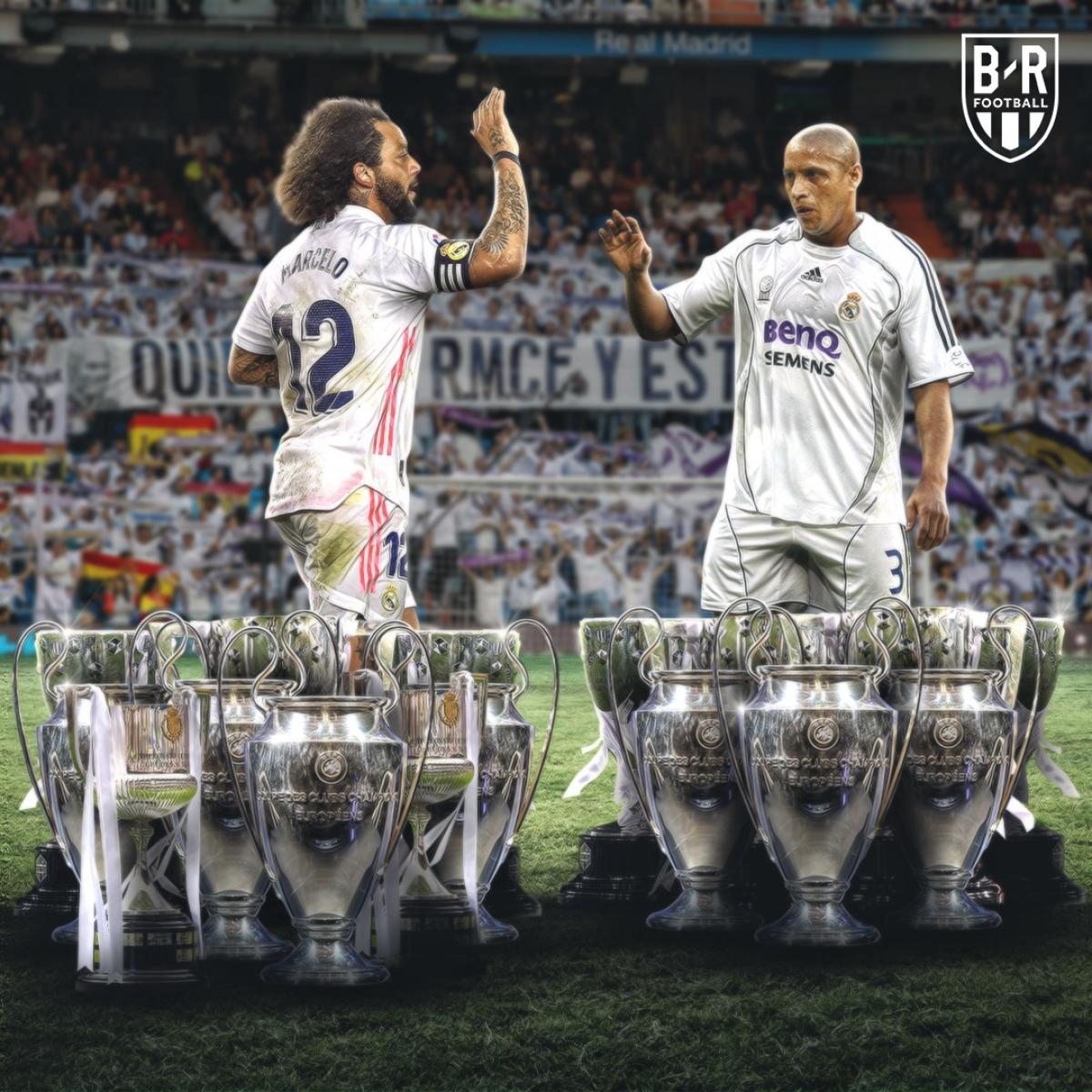 Marcelo cân bằng số trận ra sân cho Real Madrid của Roberto Carlos. (Ảnh: Bleacher Reports)