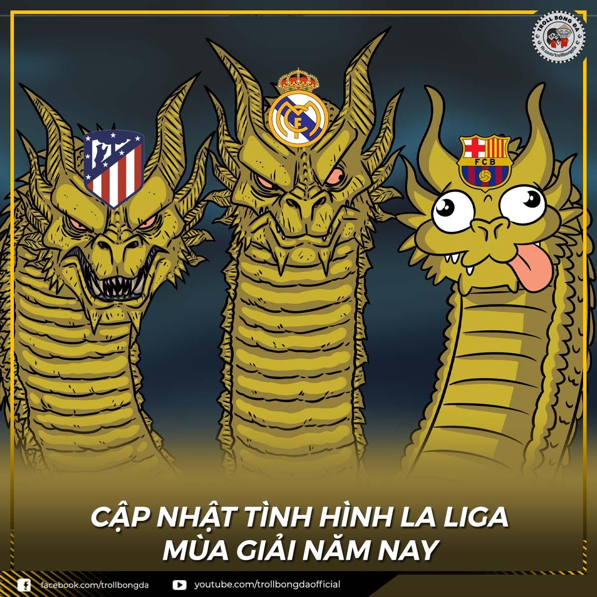 Barca tự loại mình khỏi cuộc đua vô địch La Liga. (Ảnh: Troll Bóng Đá)