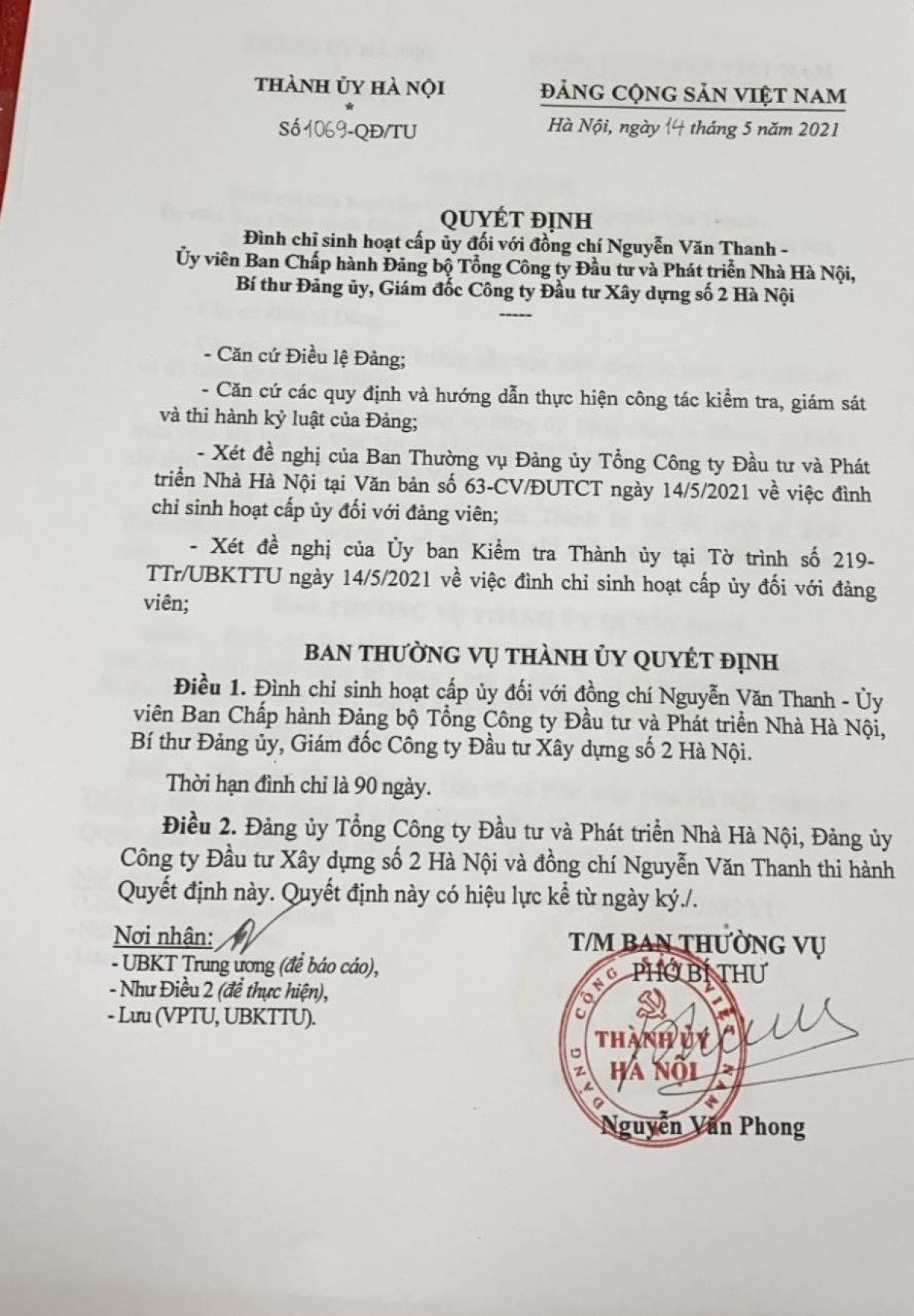 Quyết định đình chỉ sinh hoạt Đảng với ông Nguyễn Văn Thanh