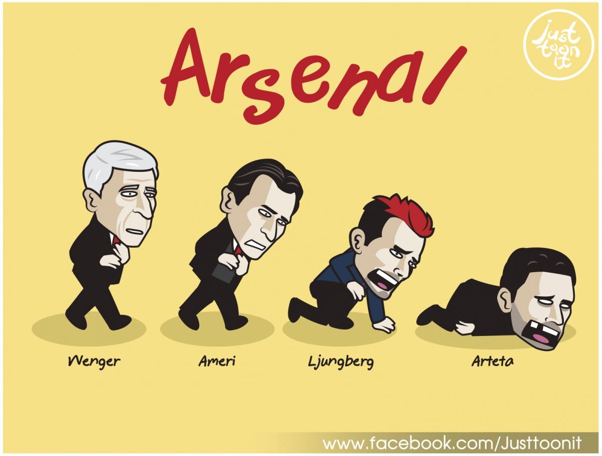 """Arsenal khủng hoảng sau khi """"Giáo sư"""" Wenger ra đi. (Ảnh: Just Toon It)"""