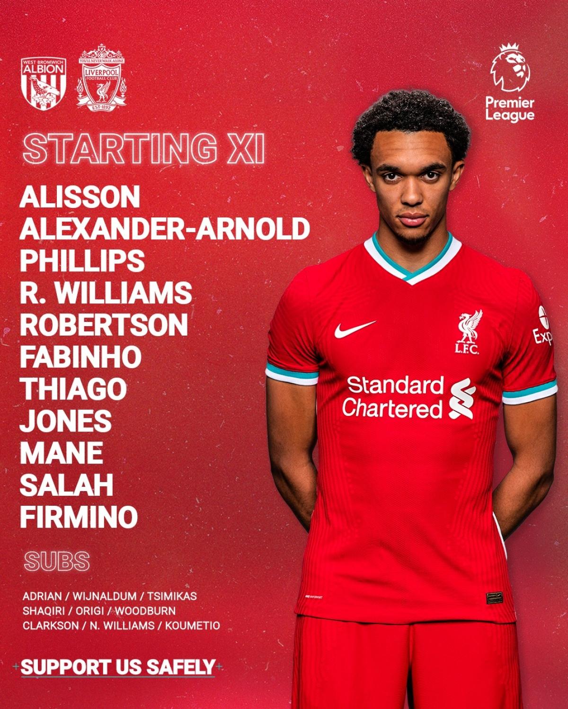 Đội hình xuất phát của Liverpool. Diogo Jota vắng mặt vì chấn thương. (Ảnh: Liverpool).