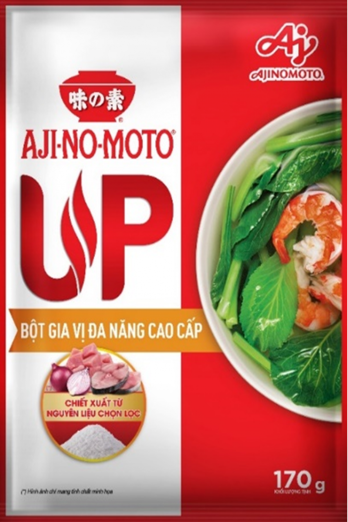 Bột gia vị đa năng cao cấp AJI-NO-MOTO® UP giúp nấu ăn ngon hơn nhờ khả năng làm nổi bật vị ngon tự nhiên của từng nguyên liệu.