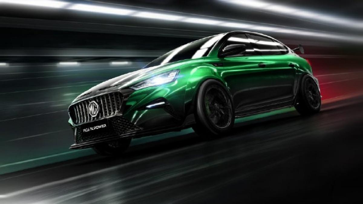 """Được chia sẻ trên Weibo, MG6 XPower đang được quảng cáo là mẫu xe được sửa đổi tại nhà máy chính thức đầu tiên của công ty với """"tính thẩm mỹ tuyệt vời dành cho xe đua""""."""