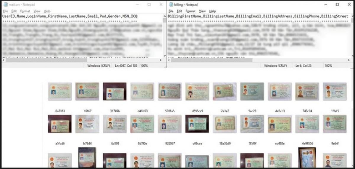 Ảnh chụp chứng minh nhân dân và thông tin cá nhân của người Việt bị hacker rao bán.