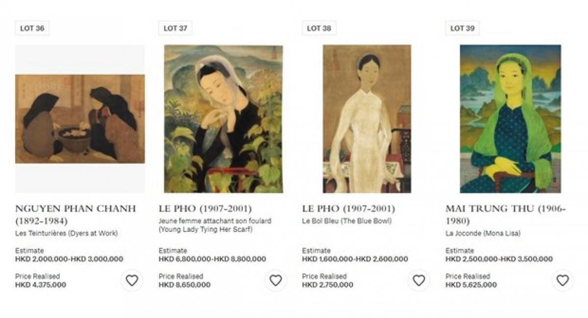 Loạt bốn tranh trên trang đấu giá của Christie's Hong Kong. (Ảnh chụp màn hình)