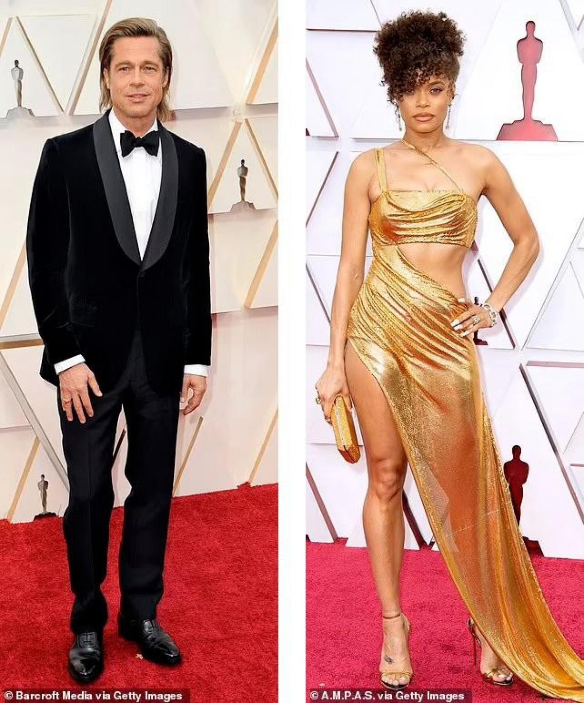 """Tờ The Mirrortiết lộ, nam tài tử Brad Pitt (58 tuổi) đã bị phát hiện """"tán tỉnh ở hậu trường"""" với nữ ca sĩ Andra Day (37 tuổi) tại lễ trao giải Oscar lần thứ 58 hồi tháng 4."""
