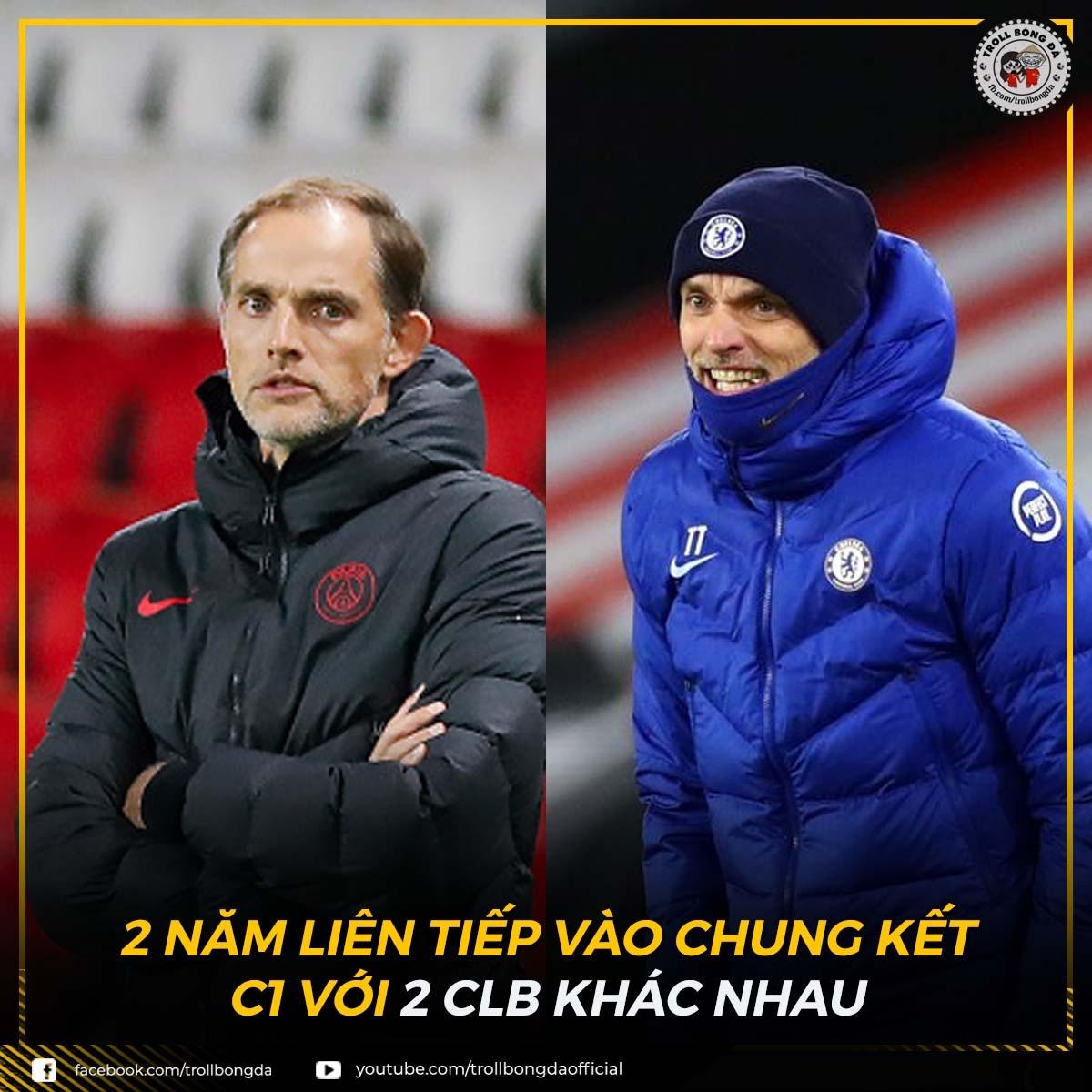 HLV Tuchel làm nên lịch sử với 2 lần vào chung kết Champions League với 2 CLB khác nhau. (Ảnh: Troll bóng đá).