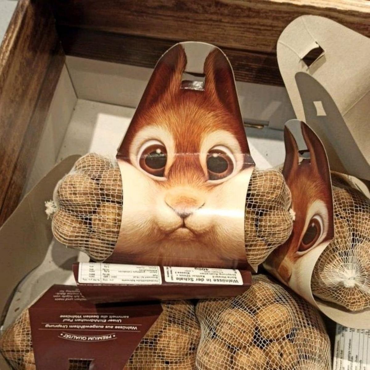 Người thiết kế khéo léo in hình chú thỏ ngộ nghĩnh ở túi hạt óc chó.