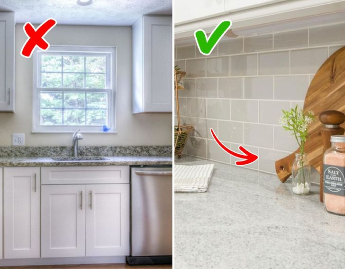 Hãy xây gạch hoặc lắp đá ốp bếp liền với tủ bếp để không gian bếp nhà bạn trông hiện đại, sạch sẽ. Kiểu trang trí làm đá/gạch viền quanh bếp trông cũ kỹ, lỗi thời và thậm chí còn rẻ tiền nữa. Bạn hãy xử lý các mối nối bằng loại keo chuyên dụng.