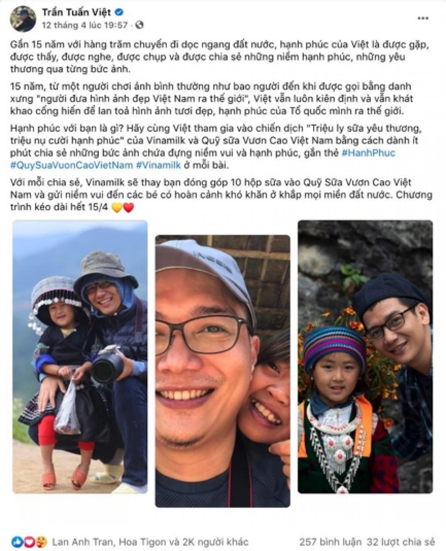 Bài viết hưởng ứng chiến dịch của nhiếp ảnh gia Trần Tuấn Việt đã nhận hơn 2.000 lượt thích và chia sẻ.