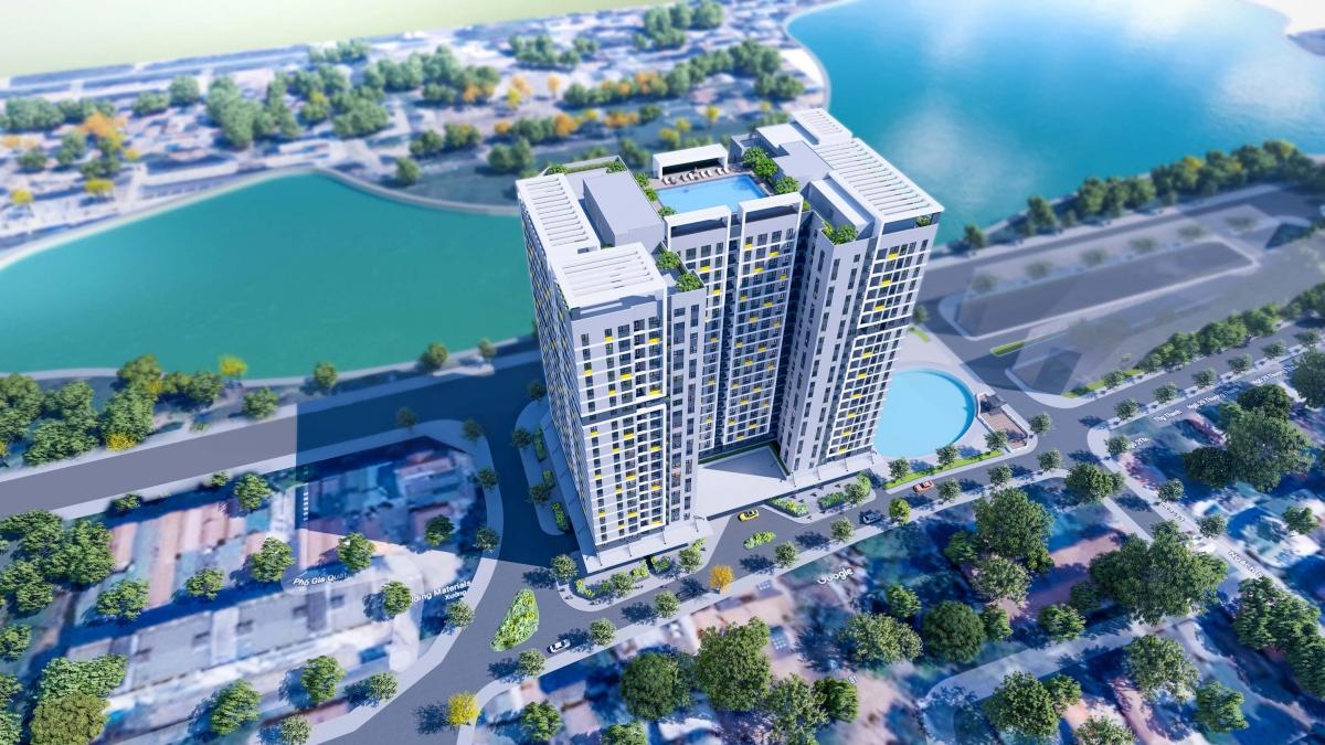 Phối cảnh toà nhà CT1 – NOXH Chất lượng cao Rice City Long Biên. Ảnh: bicvietnam