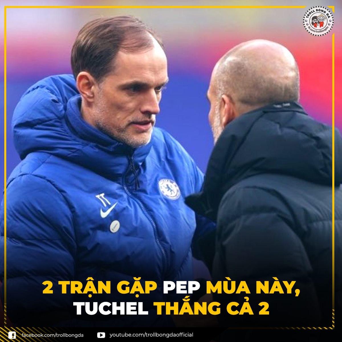 HLV Tuchel thắng HLV Guardiola cả 2 lần gặp mặt mùa giải này. (Ảnh: Troll bóng đá).
