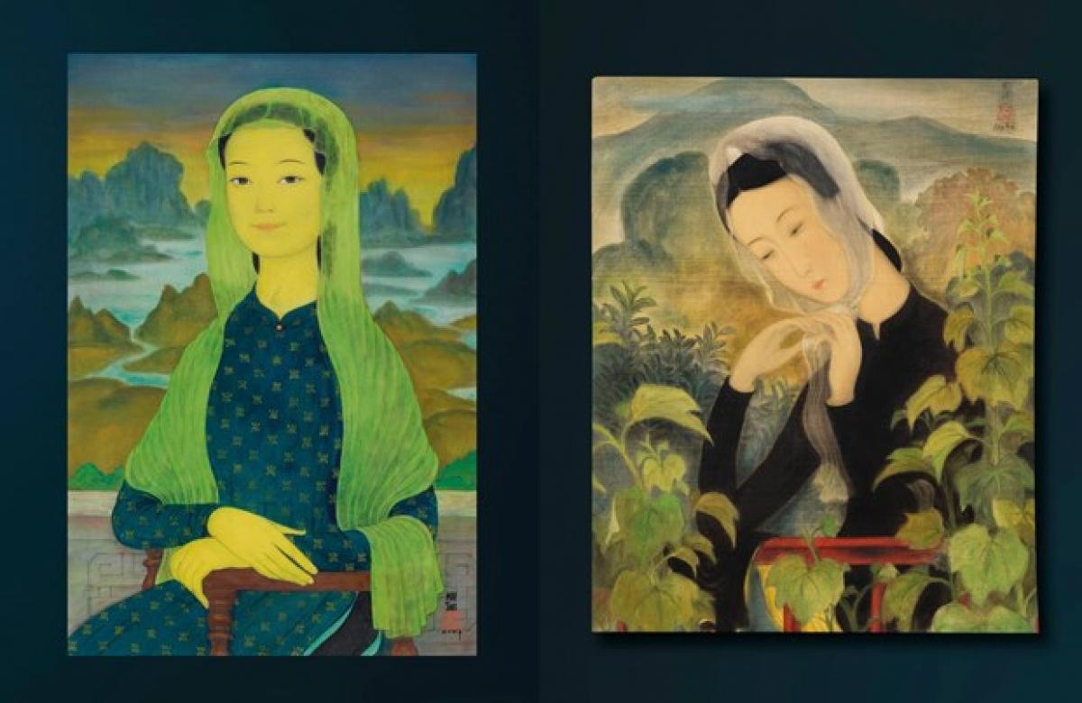 ''Mona Lisa'' của Mai Trung Thứ (trái) và ''Thiếu nữ choàng khăn'' của Lê Phổ. (Ảnh tư liệu)