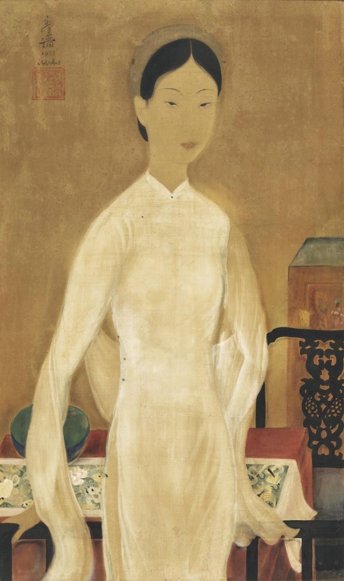 ''Chiếc bát xanh'' của Lê Phổ trên chất liệu lụa. (Ảnh tư liệu)