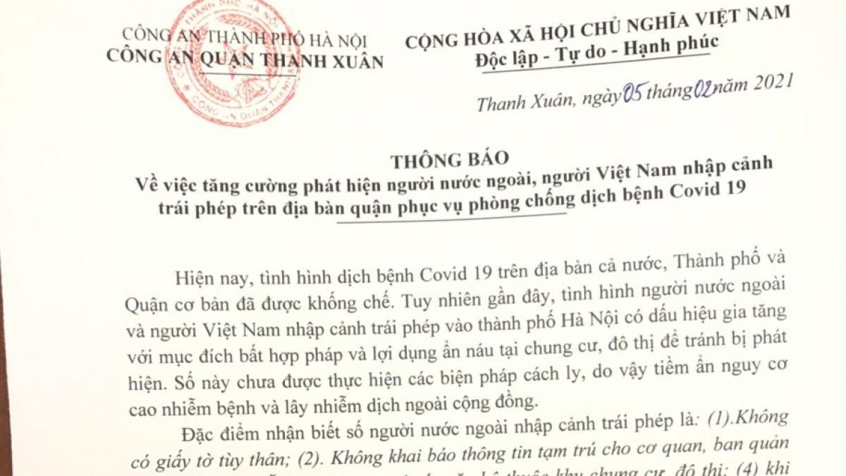 Thông báo Công an quận Thanh Xuân