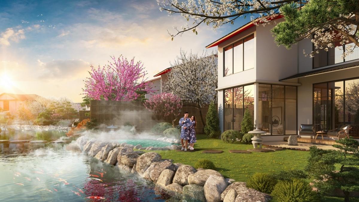 Mỗi biệt thự Yoko Villas được dẫn nguồn nước khoáng nóng Quang Hanh quý giá vào tận nhà.