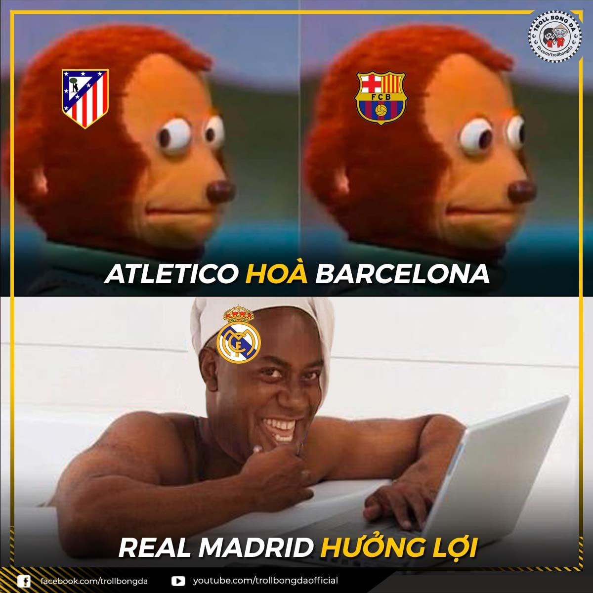 Real Madrid hưởng lợi từ trận Barca hòa Atletico. (Ảnh: Troll bóng đá).