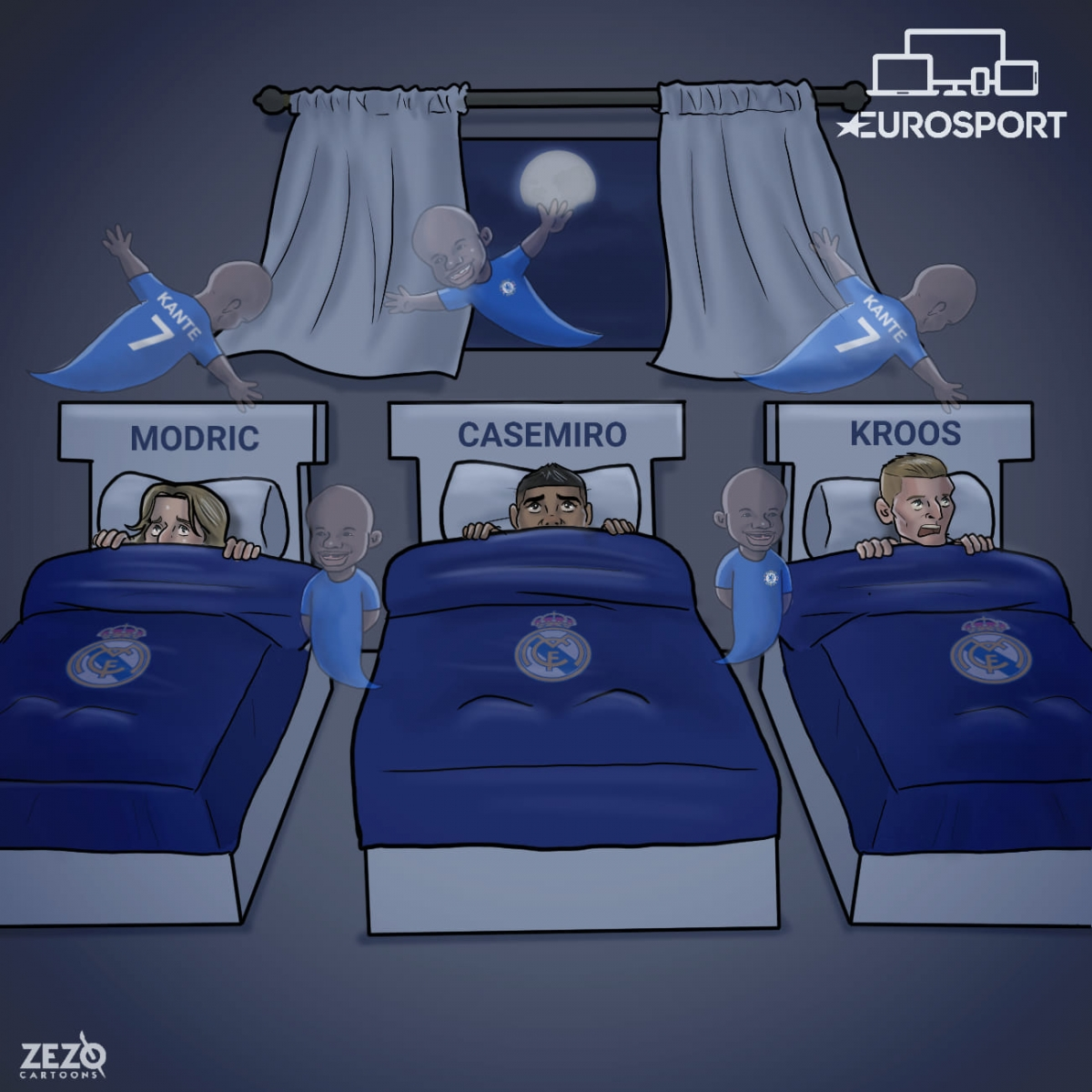Kante là nỗi ác mộng của hàng tiền vệ của Real Madrid.