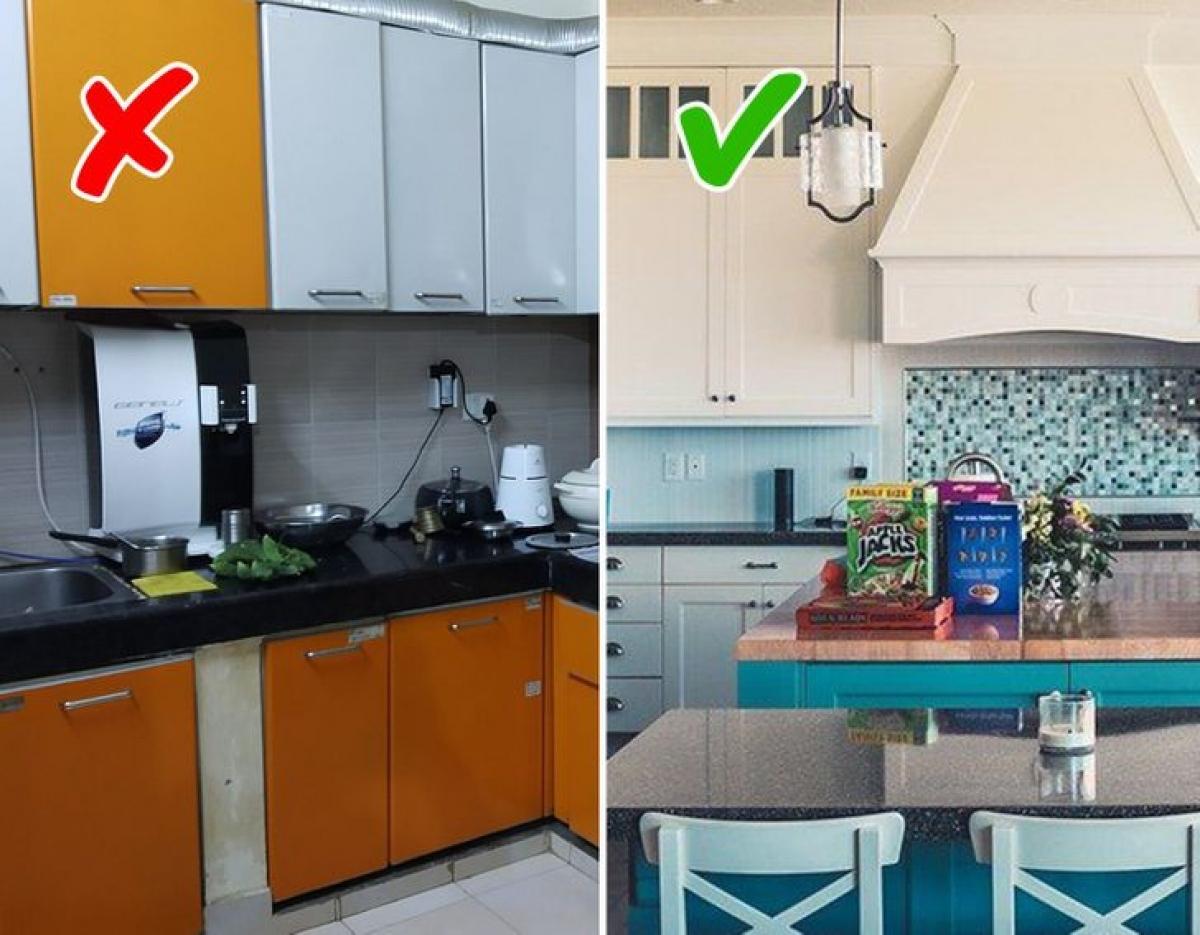 Bạn nên sử dụng những tông màu tự nhiên, sáng sủa, nhẹ nhàng để không mất quá nhiều công sức vẫn có gian bếp xinh xắn.