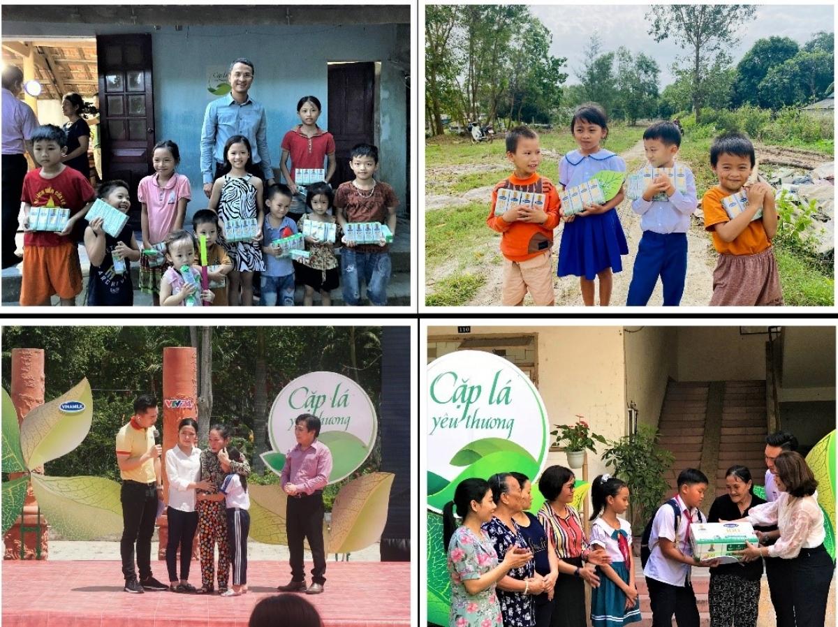 """Các bạn nhỏ tại Nghệ An, Quảng Trị, Vĩnh Long và Đà Nẵng nhận hỗ trợ từ Vinamilk và chương trình """"Cặp lá yêu thương"""" trong những năm trước."""