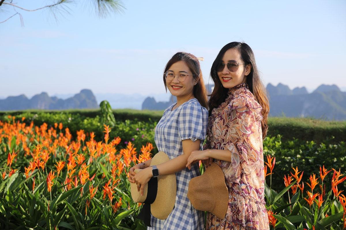 Hàng ngàn cây hoa thiên điểu màu đỏ, cam rực rỡ nổi bật trên thảm lá xanh mướt tại khu vực đảo Thiên điểu khiến nhiều du khách thích thú.