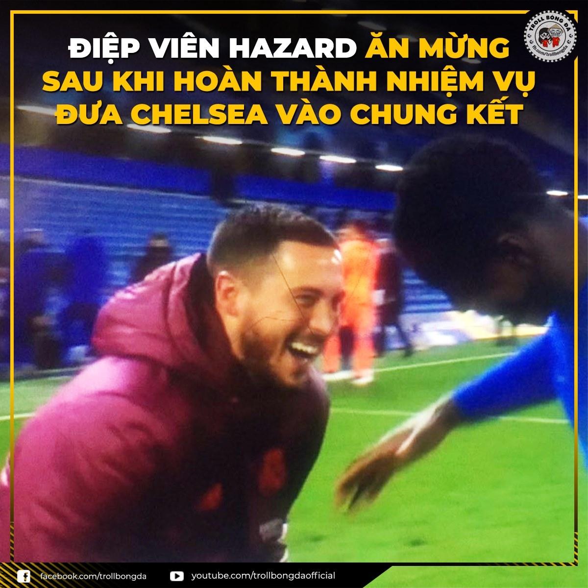 """""""Điệp viên"""" Hazard hoàn tất nhiệm vụ đưa Chelsea vào chung kết Champions League. (Ảnh: Troll bóng đá)./."""