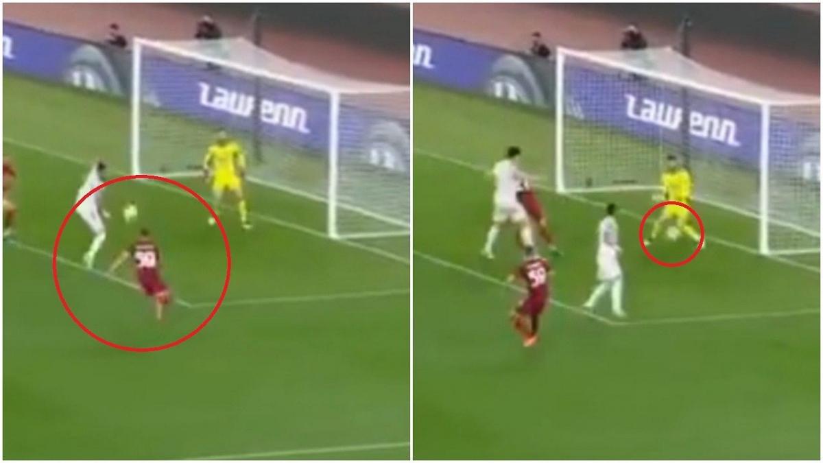 AS Roma giành chiến thắng 3-2 nhờ cú sút đập chân Telles đổi hướng của Zalewski ở phút 83. (Ảnh: Sportbible)