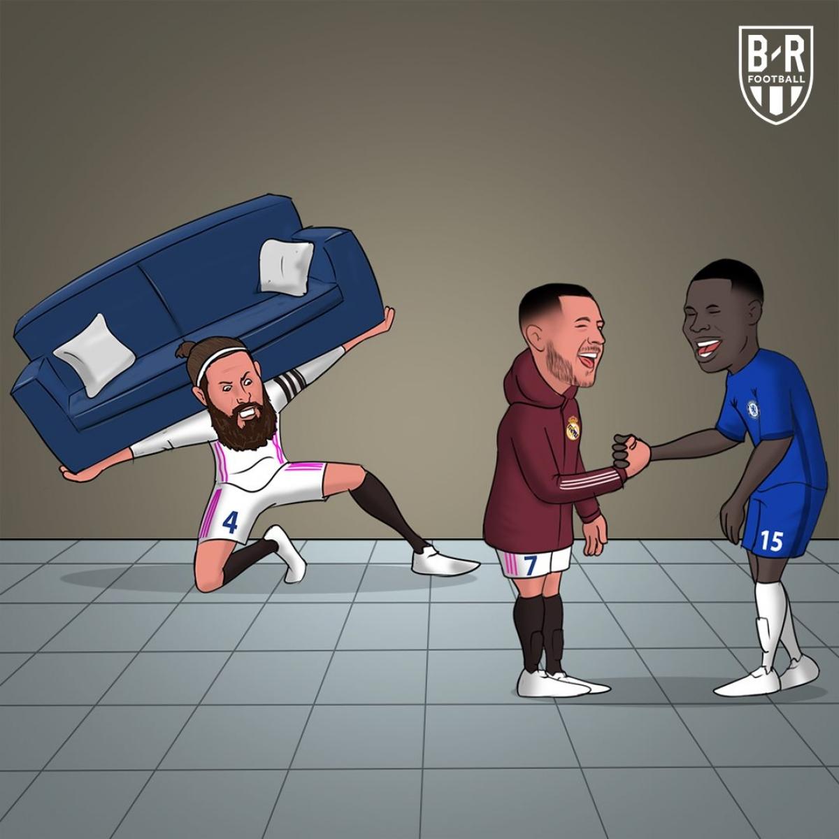 Hazard bắt tay, cười đùa với cầu thủ Chelsea khiến các cầu thủ, huấn luyện viên và cổ động viên Real Madrid sôi máu.