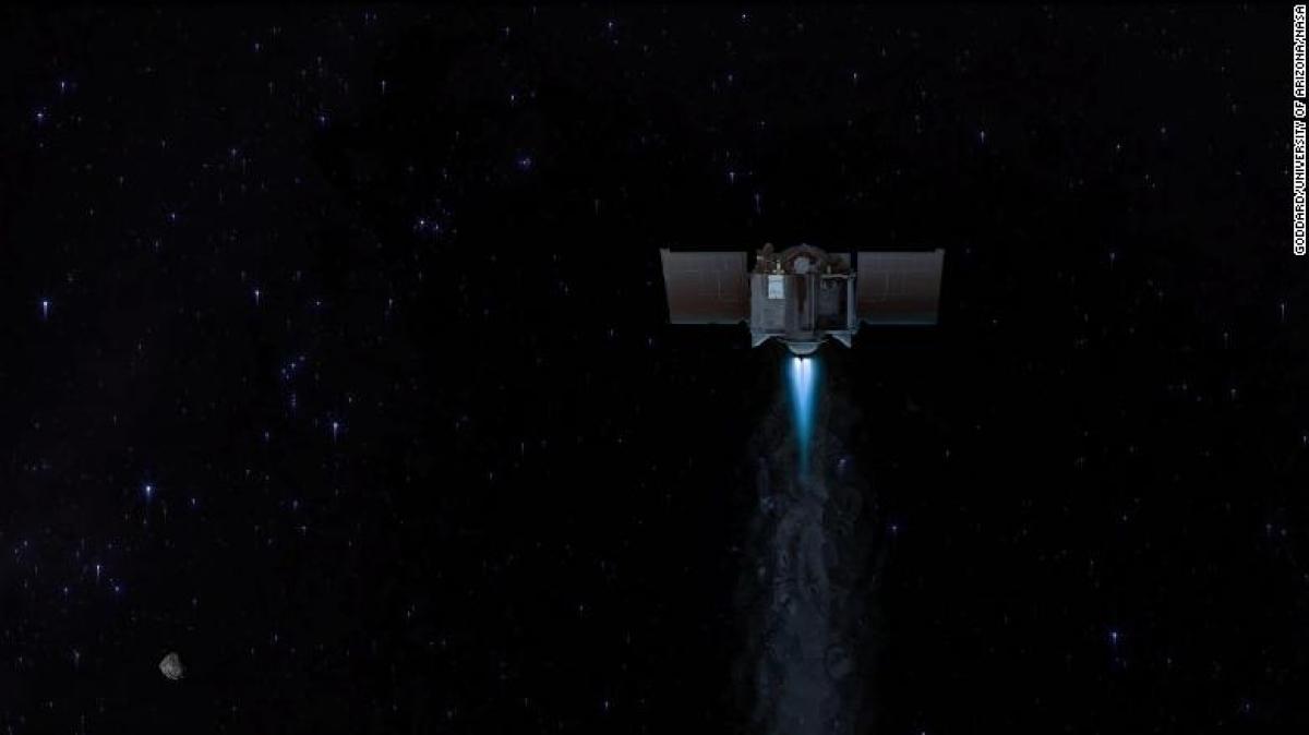 Hình ảnh minh họa tàu vũ trụ OSIRIS-REx rời Benny để quay lại Trái Đất. Ảnh: CNN