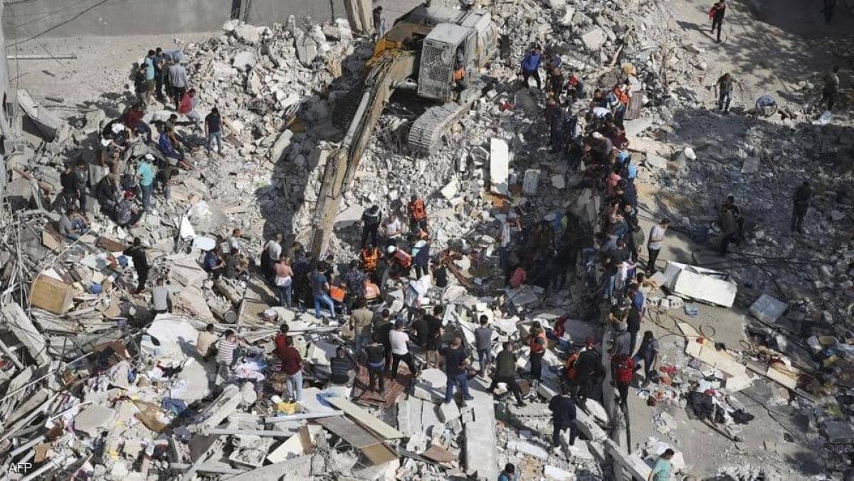 Hình ảnh đổ nát sau những cuộc không kích. (Ảnh: AFP)