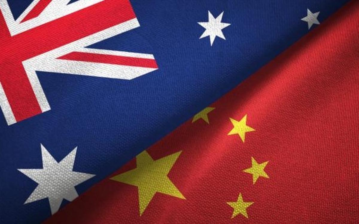Hình ảnh cờ Australia và Trung Quốc. Ảnh: The Australian