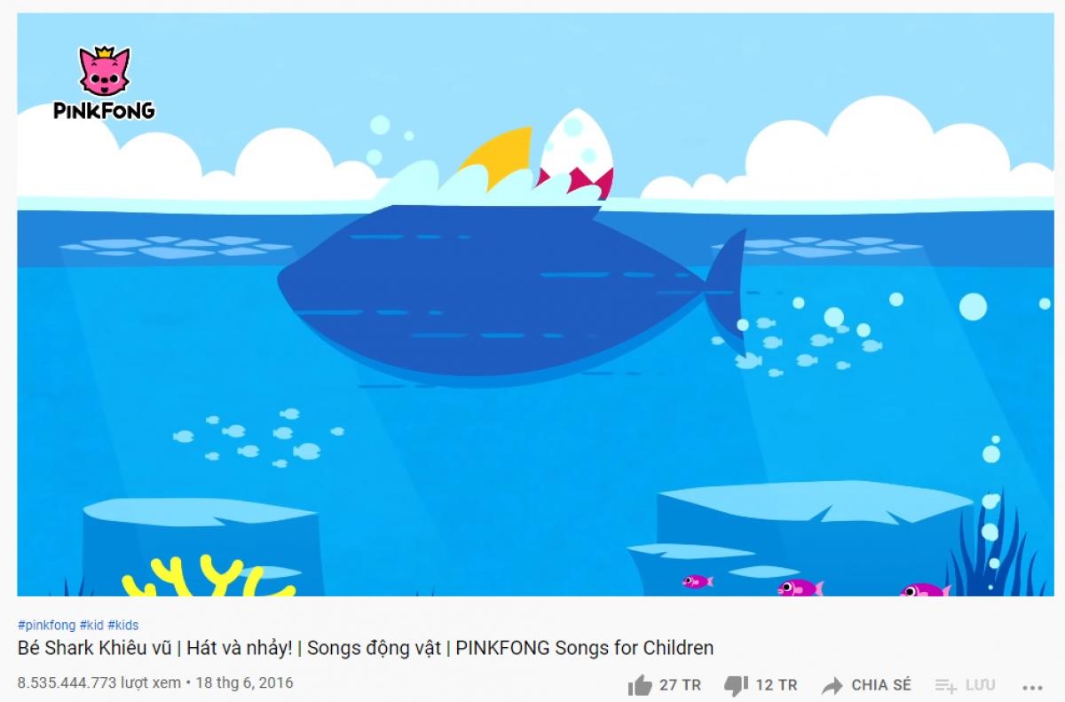 """""""Baby shark"""" chạm mốc 8,5 tỷ lượt xem."""