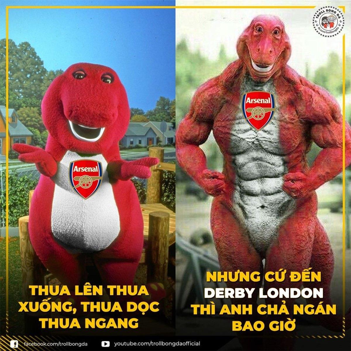 Arsenal không ngán đối thủ nào ở thành London. (Ảnh: Troll bóng đá).