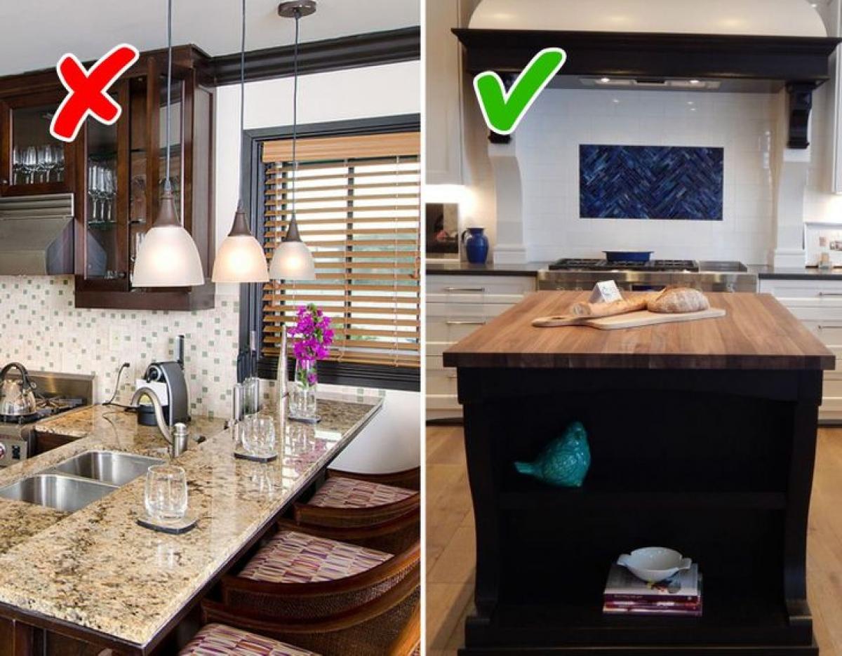 Nếu không gian bếp của bạn đủ rộng rãi để thiết kế đảo bếp, hãy đảm bảo đảo bếp thật gọn gàng, tối giản và ít chi tiết rườm rà.