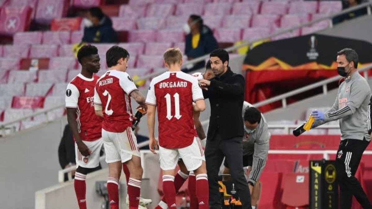 Các cầu thủ Arsenal không còn cơ hội góp mặt ở Champions League mùa tới. (Ảnh: Getty).