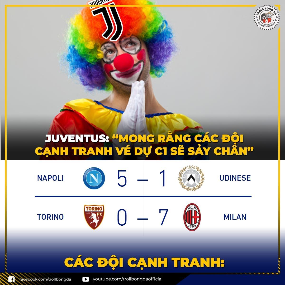 Juventus còn rất ít hy vọng dự Champions League mùa tới. (Ảnh: Troll bóng đá).