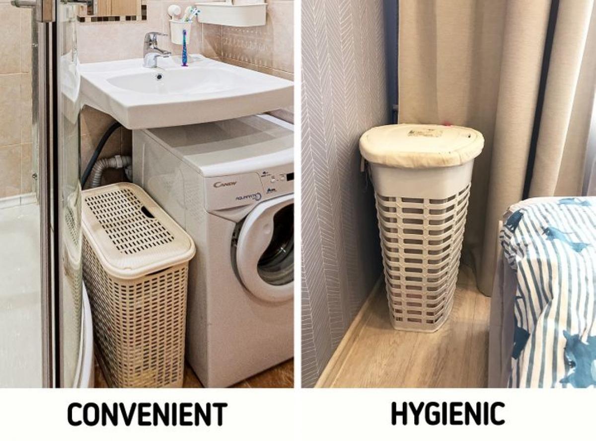 Giỏ đựng quần áo chắc chắn là rất tiện lợi bởi bạn chỉ cần tắm xong là cho quần áo vào. Tuy nhiên, môi trường ẩm ướt trong phòng tắm là điều kiện lý tưởng để các vi khuẩn ẩm mốc sinh sôi. Ngay cả chế độ giặt nước nóng cũng chưa chắc đã loại bỏ được chúng.