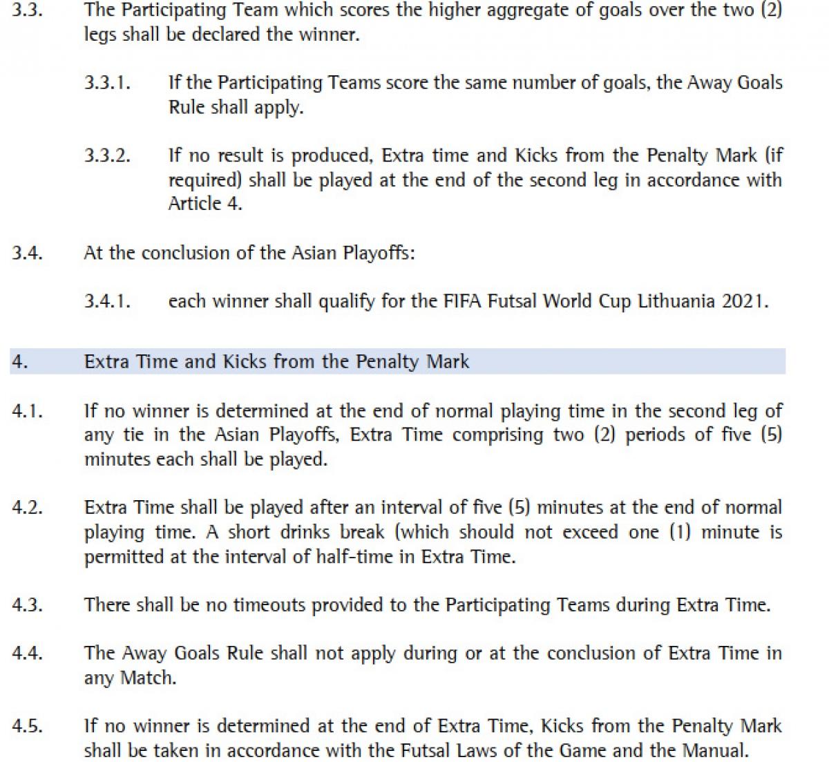 Điều lệ của AFC quy định loạt trận playoff Futsal World Cup 2021 sẽ áp dụng luật bàn thắng sân khách. (Ảnh: AFC).